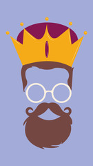 King Hipster Vector man look Style