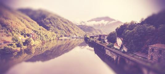 Vintage filtered picture of Tuscany landscape with tilt shift ef
