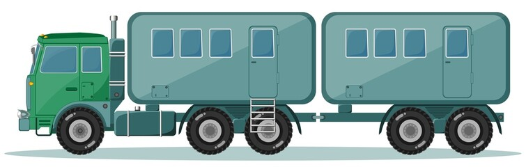 Truck with Trailer to Transport People, Vector