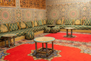 Oriental decorated room in Fez, Morocco, Africa