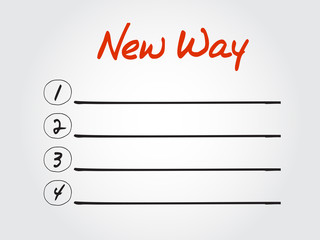 Blank New Way list, vector concept background
