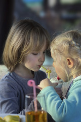 Two girls eating