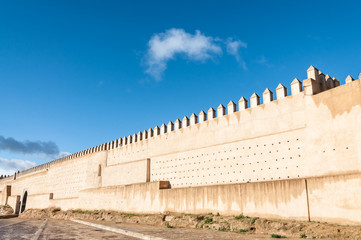 Ancient fortified wall in the city of Fez, Morocco, Africa