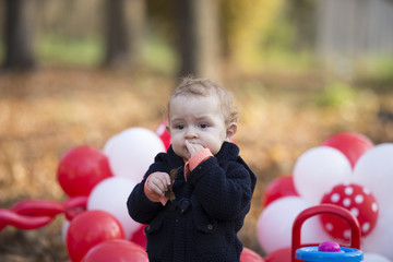 Baby boy playing with ballons. Oudoor autumn portrait