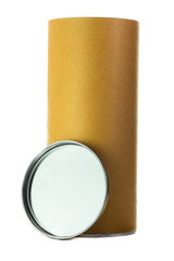 Open brown cylinder tube container