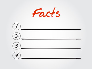 Blank Facts list, vector concept background