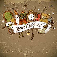 Hand-drawn New Year and Christmas Greeting Card