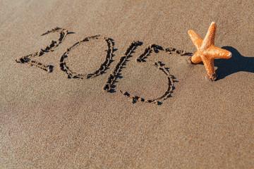 starfish next to 2015 written on sand