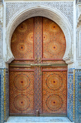 Beautiful decorated door in the medina of Fez, Morocco