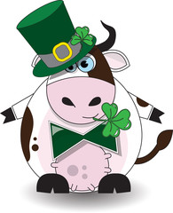 St Patricks Day Cow Wearing A Hat And Chewing On A Clover
