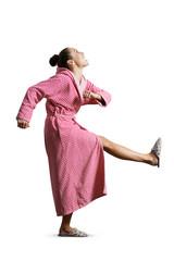 housewife giving kick
