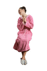 woman in pink dressing gown sitting