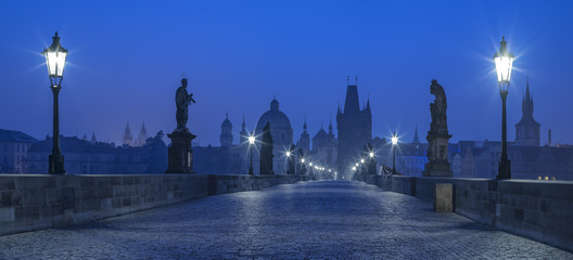 blue twilight on Karluv bridge in Prague
