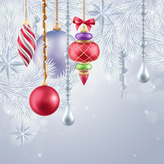 Christmas tree hanging ornaments, festive background