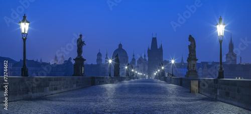 blue twilight on Karluv bridge in Prague