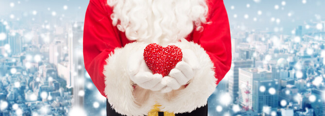 close up of santa claus with heart shape