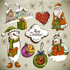 Set of Hand-drawn Christmas Design Elements