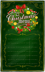 Christmas menu chalkboard.