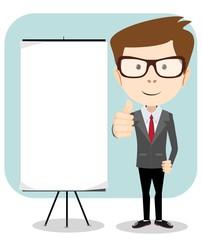 Vector illustration of a cartoon businessman holding blank
