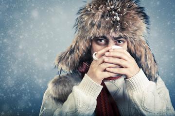 Winterwear male warming up