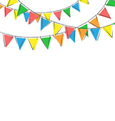 Multicolored bright hand-drawn buntings garlands isolated on whi