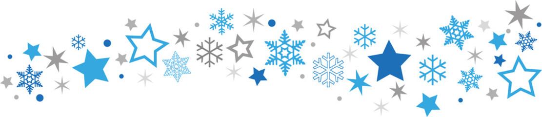 Schneeflocken Sternenband blau-grau