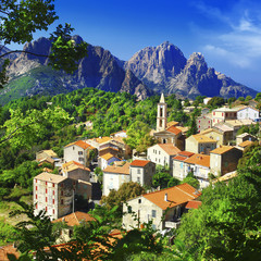 beautiful Evisa - mountain village in Corsica