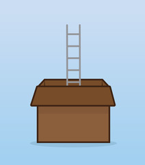 Ladder coming out of cardboard box