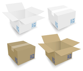 Cardboard Boxes Icons Open & Closed