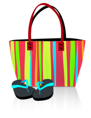 Beach Tote and Flip Flops