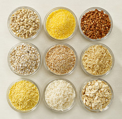 various kinds of cereal grains