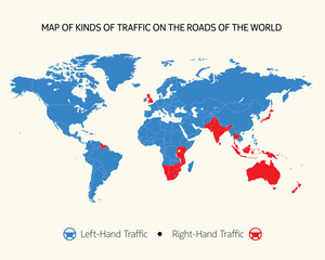 Map of kinds of traffic on the roads of the world