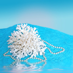 White Coral on Blue