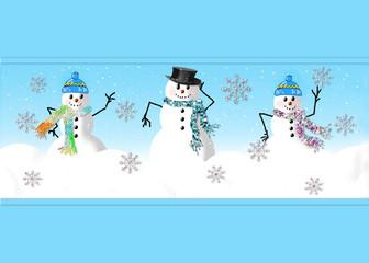 Snowman Family on Blue