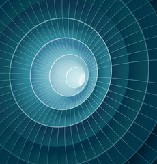 Abstract 3d blue spiral tunnel