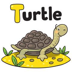 Little funny turtle, for ABC. Alphabet T