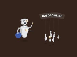 Robot character playing bowling
