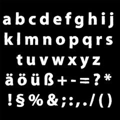 Alphabet klein editierbare Text mit Grafikstile Kreide