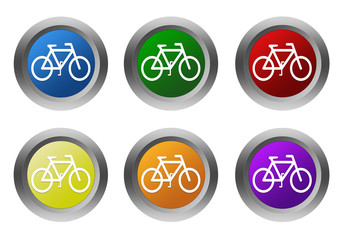 Set of rounded colorful buttons with bicycle symbol