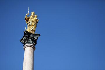 Statue of Mother Mary at Marienplatz. Munich