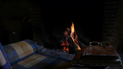 relaxation in the heat of the fire and in the company of a book