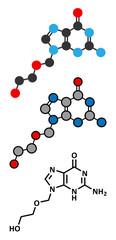 Acyclovir herpes drug molecule.