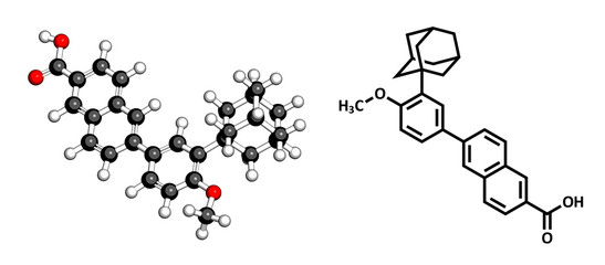 Adapalene acne treatment drug, chemical structure.