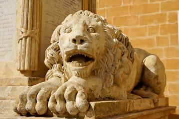 Lion sculpture,an outdoor maltese symbol in Valletta