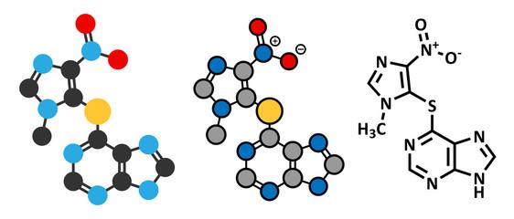 Azathioprine immunosuppressive drug molecule.