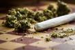 Leinwanddruck Bild - marijuana joint closeup