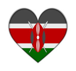 Kenya heart flag vector