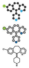 Desloratadine antihistamine drug molecule.
