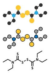 Disulfiram alcoholism treatment drug molecule.
