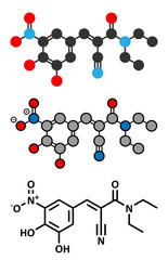 Entacapone Parkinson's disease drug molecule.